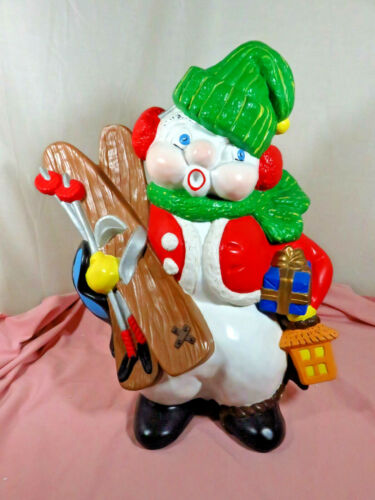 "BIG 18"" Vtg Hand Made in 1971 ~ Ceramic Snowman Atlantic Mold w/ Skis NICE!"