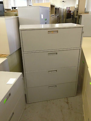 4dr 36w Lateral Size File Cabinet By Gf Office Furn Wlockkey In Gray