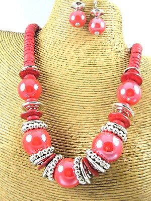 Colorful Beads Chain Necklace Earring Set Costume Metal Fashion Jewelry](Color Costume)