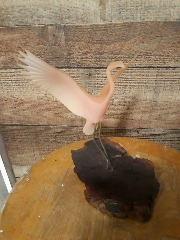 John Perry Sculpture Pink Flamingo -  Burl Wood
