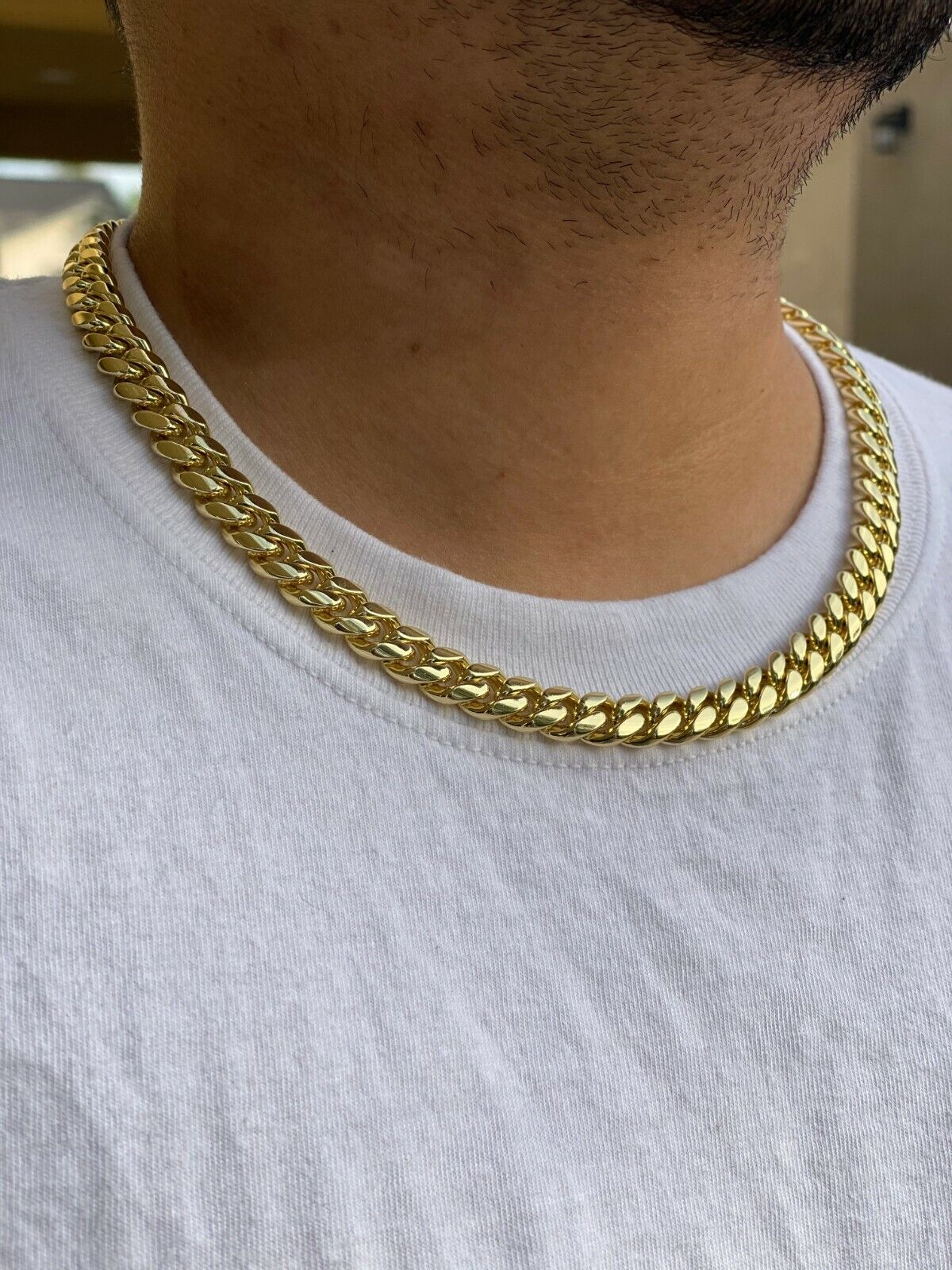 "Mens 14k Gold Filled Thick Miami Cuban Link Choker necklace 20"" bracelet 8mm"