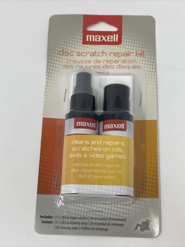 NEW Maxell Disc Scratch Repair Kit Disc Fixer for DVD CD Video Game Discs