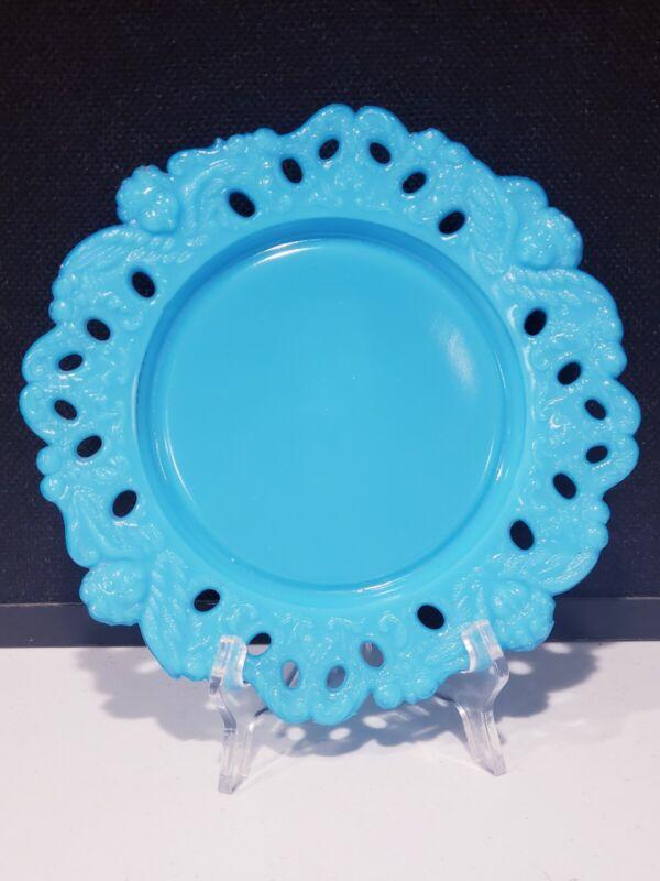 "Antique Winged Angel Cherub Pierced Blue Milk Glass Plate Dithridge? 9"""