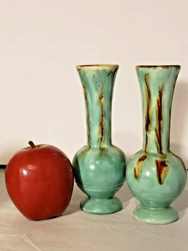 Gorgeous Mid Century Pottery Vases Made in Austria Teal with Brown Drip Glaze