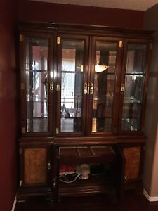 Ming Dynasty China Cabinet and Rolling  Serving Cabinet