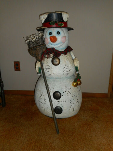 "ANTIQUE 34"" ALL METAL SNOWMAN (CANDLEHOLDER) WITH HAT AND BROOM"