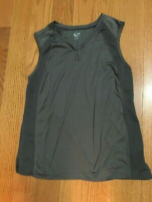 Supporter Top Activewear Athleisure Women's Size Small 2-4 Charcoal Gray V-Neck