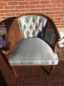 wood barrel back wicker chair