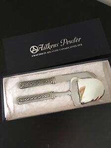 Aitkens pewter cheese slicer and knife set