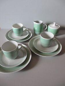 Kaestner Saxonia * 3x Kaffeetassen u. Kuchenteller, Milch&Zucker, hellgrün mint