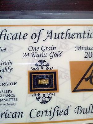 ACB 24K GOLD 1GRAIN SOLID BULLION MINTED BAR 99.99 FINE CERTIFICATE!! =.