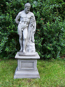 LARGE ANTIQUE HERCULES and PLINTH Cast Stone Garden Ornament Statue ⧫onefold-uk