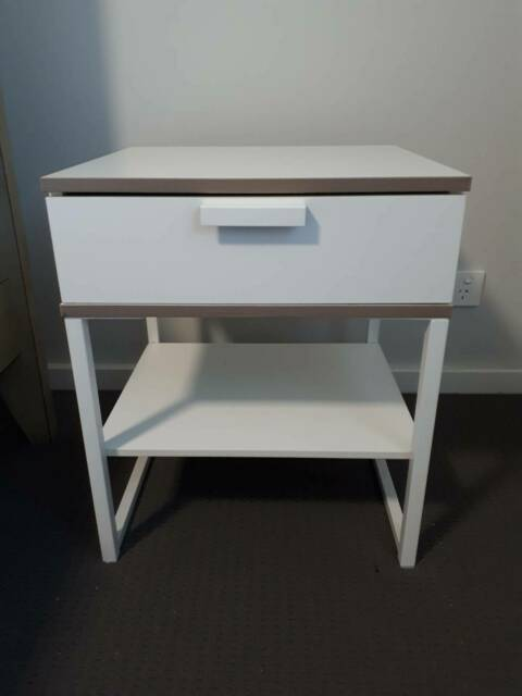 Light Grey Bedside Table: 2 X Ikea Trysil Bedside Tables, White And Light Grey