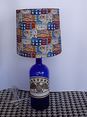 Folk Art/By Artist Table/Desk Lamp (Hand-Painted Eagle on Bottle & USA Shade)