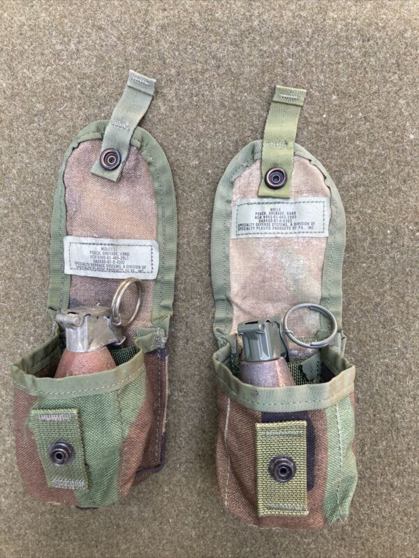 Lot Of 2 Molle Pouch Grenade Hand Woodland Camo Pineapple Dummy Reinactment