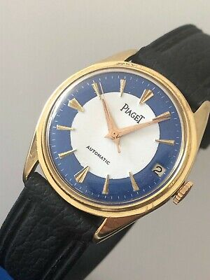 1960's 18k Gold Filled Automatic Piaget Date 2 Tone Dial Mens Watch