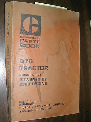 Cat Caterpillar D7g Parts Manual Catalog Tractor Bulldozer 3306eng Sn 91v957 Up