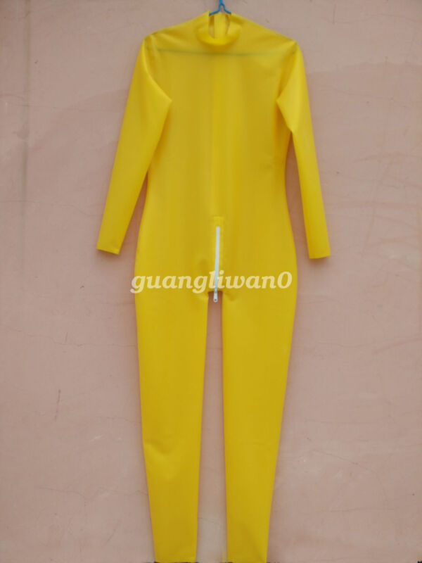 Latex Rubber Catsuit Unisex Long Slevees Simple Style With Zipper Size S-XXL