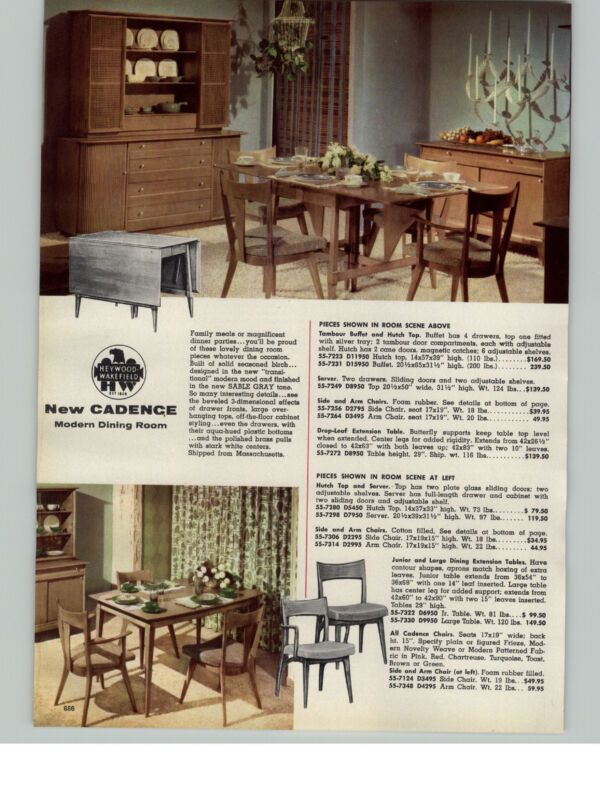 1956 PAPER AD Heywood Wakefield New Candence Mid Century Modern