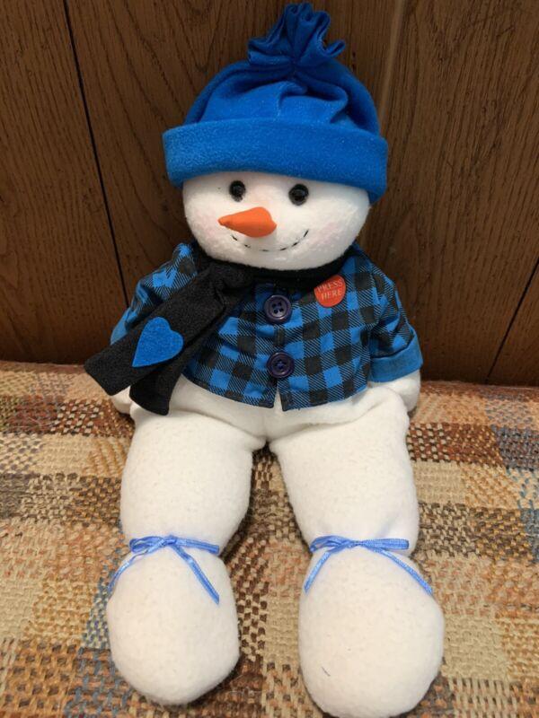 Tender Hearted Snowman, blue plaid, musical, rare design
