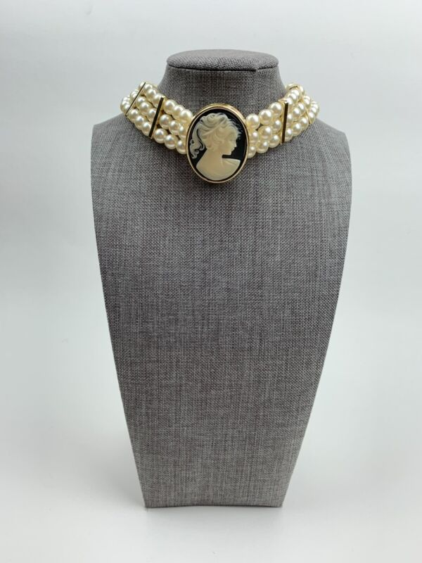 Vintage Multi Strand Faux Pearls And Cameo Choker Costume Jewelry Accessories