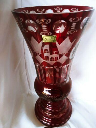 Vintage Egermann Bohemian Ruby Red Cut to Clear Castle & Deer Etched Glass Vase