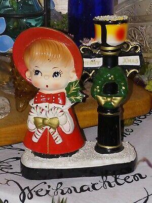 RARE '50s BLUME X-MAS CAROL Santa GIRL Candy Canes LAMP POST Ceramic CANDLESTICK
