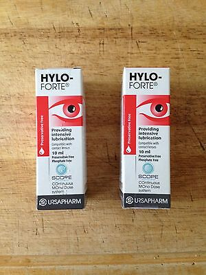 2 (TWO) Hylo-Forte Dry Eye Drops Preservative Free Lubricating Contact Lens Safe
