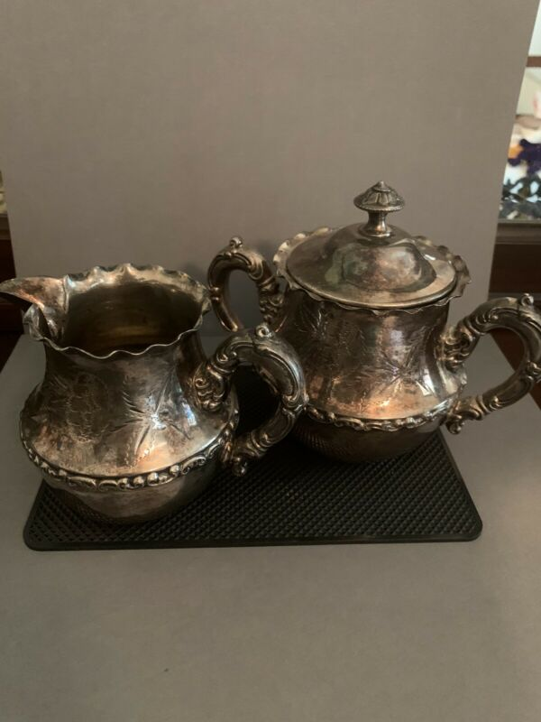 ANTIQUE QUADRUPLE SILVER PLATE SUGAR & CREAMER SET