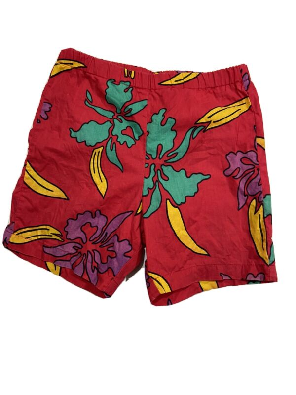 Vtg Jams Surf Line Shorts Childs Medium Hawaiian Swim Aloha Floral Cotton 80s