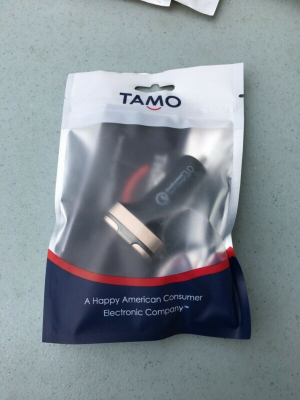 NEW TAMO Rapid Fast 2-Port USB/USB-C Car Charger Gold