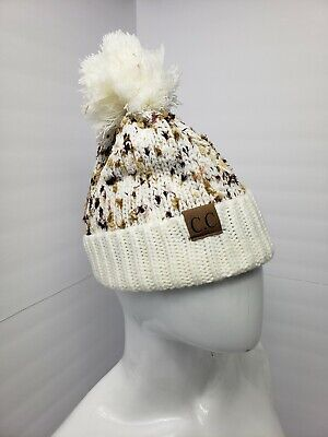 New Item! CC Beanie Ivory Multi Color Pom  Women's Knitted Winter Hat Ivory Knit Hat
