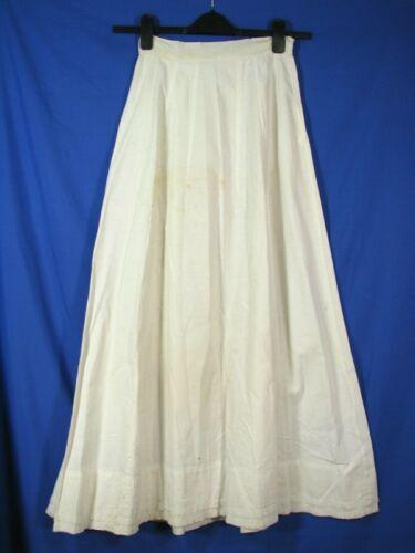 """ANTIQUE Vintage COTTON MUSLIN PANEL PETTICOAT SKIRT SLIP Multiple Spots LACE 24"""""""