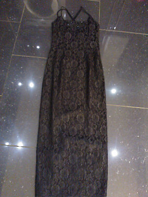 STUNNING BLACK DESIGNER EVENING DRESS, SIZE 10 BY JESSICA MCCLINTOCK