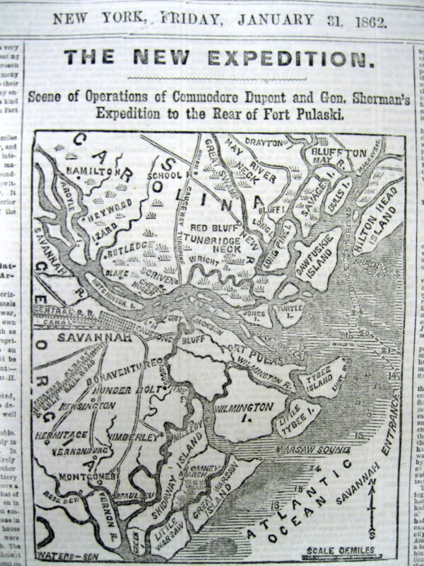 1862 Civil War newspaper w MAP & text UNION NAVY OPERATIONS at SAVANNAH Georgia