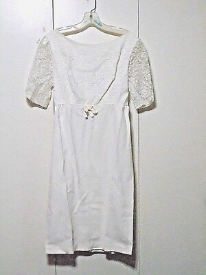 Vtg Mod 60s 70s White Dress with lace sleeves and matching long vest Costume SM](60 And 70 Clothes)
