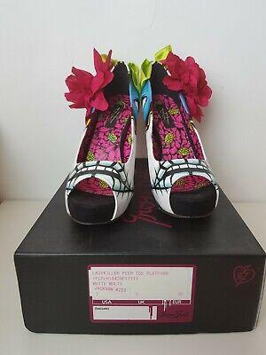IRON FIST Peep Toe Stiletto Platform Ladykiller Flower& Bow High Heel Shoes UK5