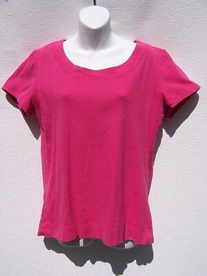 Fashion Bug Women's Hot Pink Scoop Neck Short Sleeve Tee Shirt Size Large Bug Short Sleeve Tee