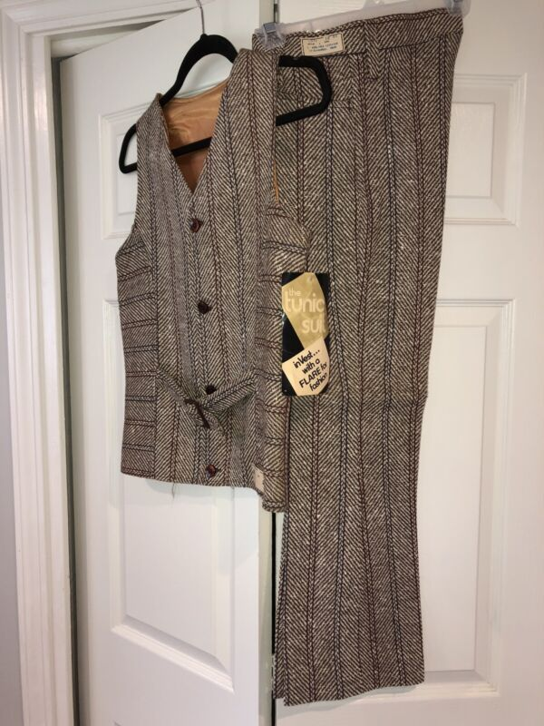 Vintage NOS 2 Pc Tunic Suit Belted Tunic Herringbone-ish Linen Rayon Retro