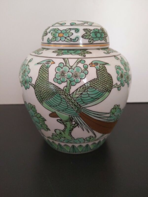 GOLD IMARI hand-painted Ginger Jar (peacock and cherry blossom / green) Japanese