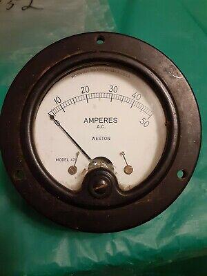 Weston Amperes A C Model 476 Meter Panel Gauge 0-50 Amps Stock C152