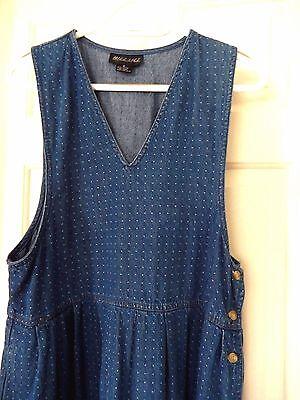 Button, Denim-jumper (Mizz Lizz Denim Jumper/Dress-M  Side button down, cute dotted embroidery!)