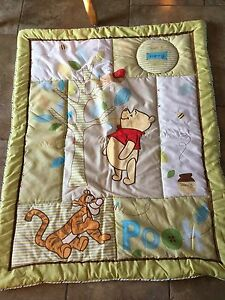 Winnie the Pooh comforter, bed skirt, valance and crib sheets
