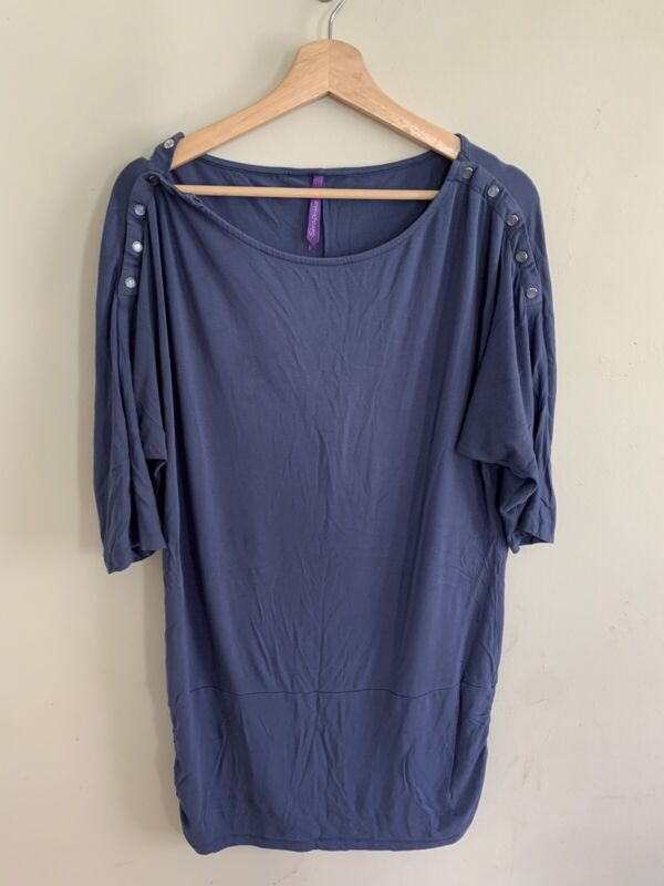 Seraphine Maternity 3/4 Sleeve Tunic Nursing Maternity Wiggle Top Blue Size 10