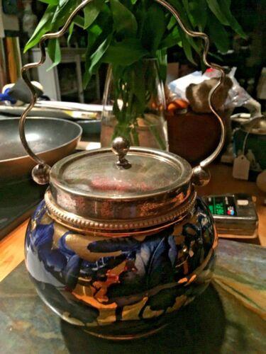 W. Wood & Co Albert Street Works Burslem Lusterware Biscuit Jar Cobalt NICE!