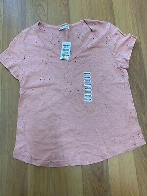 NWT Honey Punch Ladies Distressed Tee Baby Pink Casual Comfy Wear Size Medium  Distressed Baby Tee