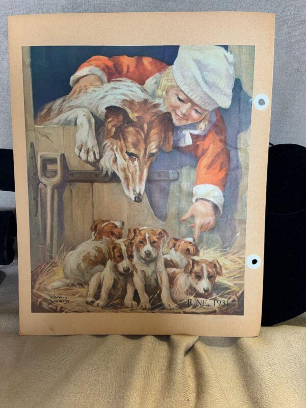 Collie and Puppies Vintage Magazine  Art Print 1931 Kittens on Reverse Scrapbook