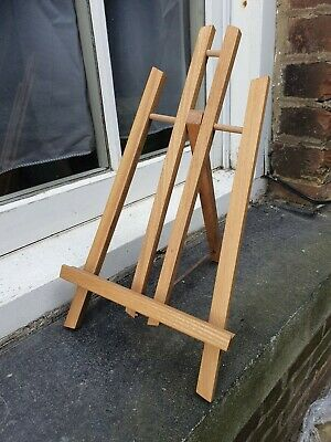 VINTAGE SMALL LIGHT WOOD PAINTING PLAQUE FOLDING DISPLAY ARTIST EASEL STAND B