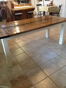 Handcrafted harvest table with fabulous riverbed