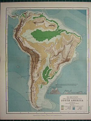 1892 VICTORIAN MAP ~ SOUTH AMERICA PHYSICAL AMAZON MOUNTAINS PLAINS TABLE LANDS